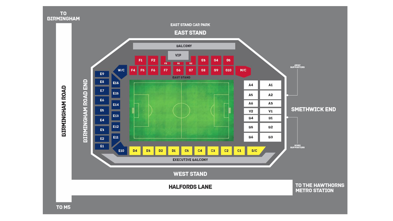 Hawthorns Stadium map