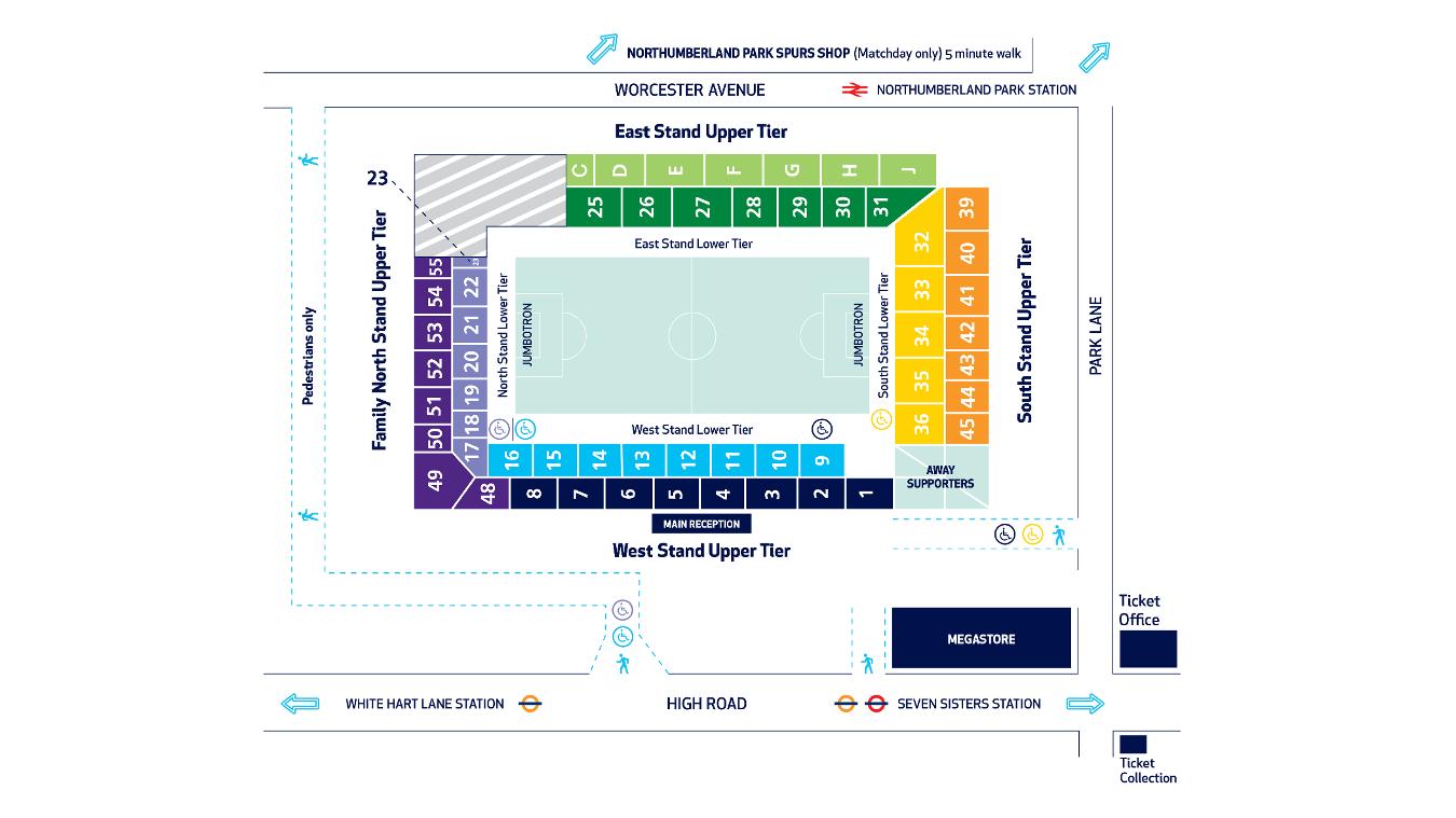 White Hart Lane Stadium map