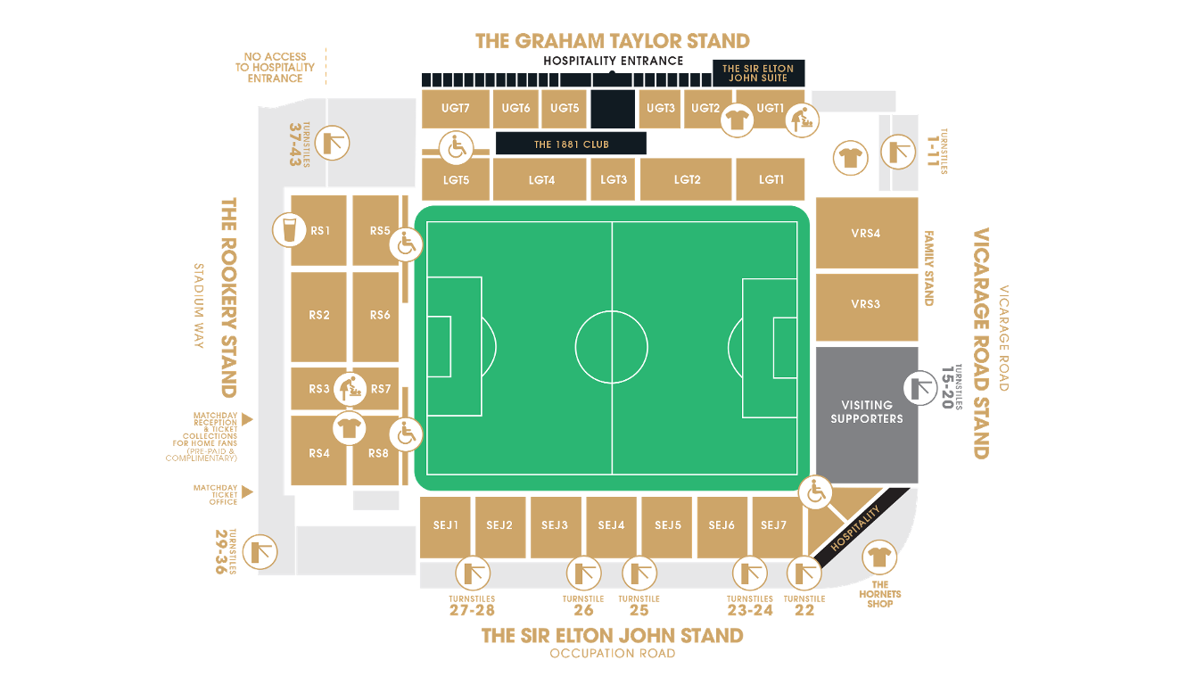 Vicarage Road Stadium map