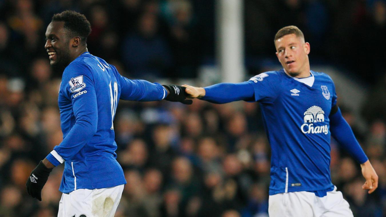 Everton's Romelu Lukaku and Ross Barkley