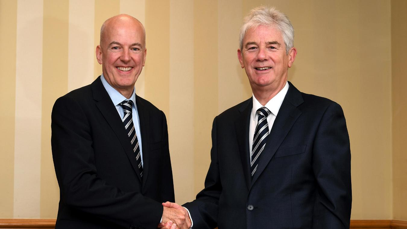 John Williams (right) succeeds Jeremy Peace (left) as West Brom chairman