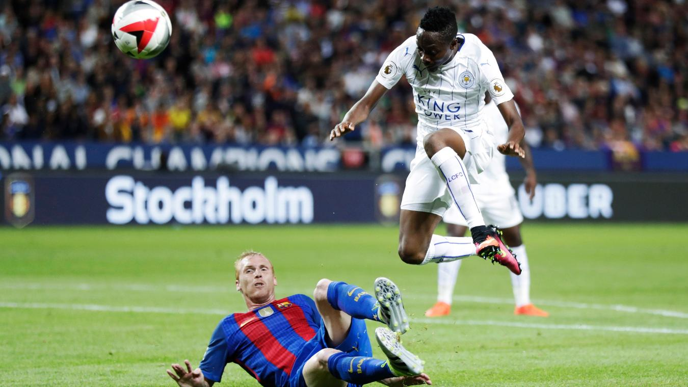 Ahmed Musa in action for Leicester against Barcelona