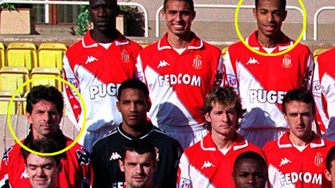 Claude Puel and Thierry Henry (circled) at Monaco