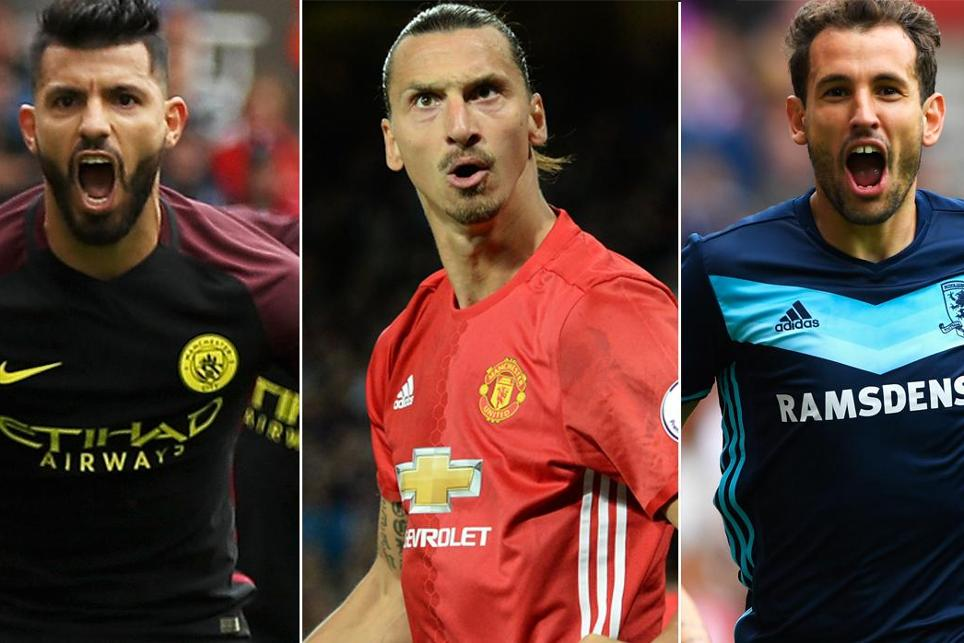 Sergio Aguero, Zlatan Ibrahimovic and Christhian Stuani