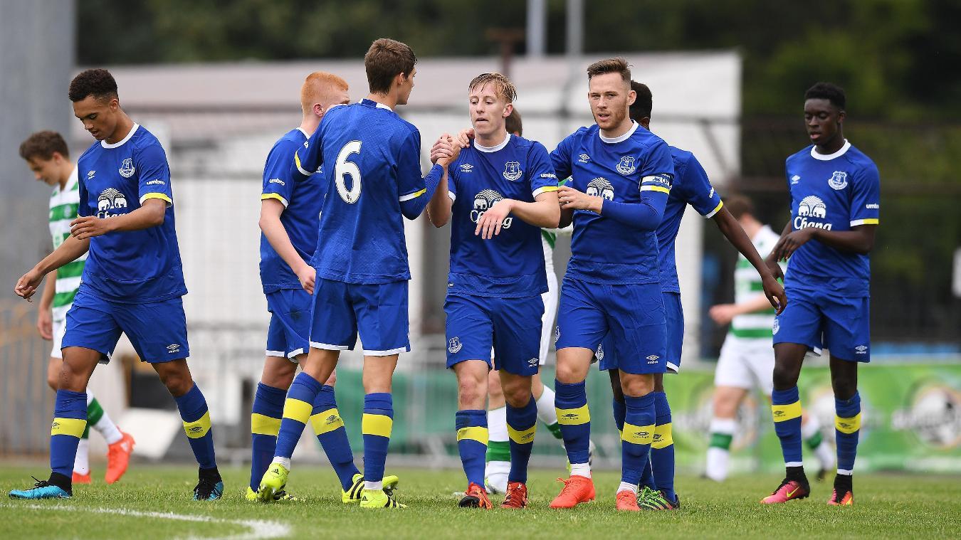 Everton's PL2 team celebrate goal