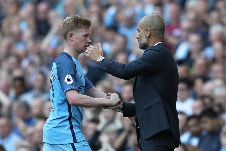 Image result for Pep Guardiola with De Bruyne