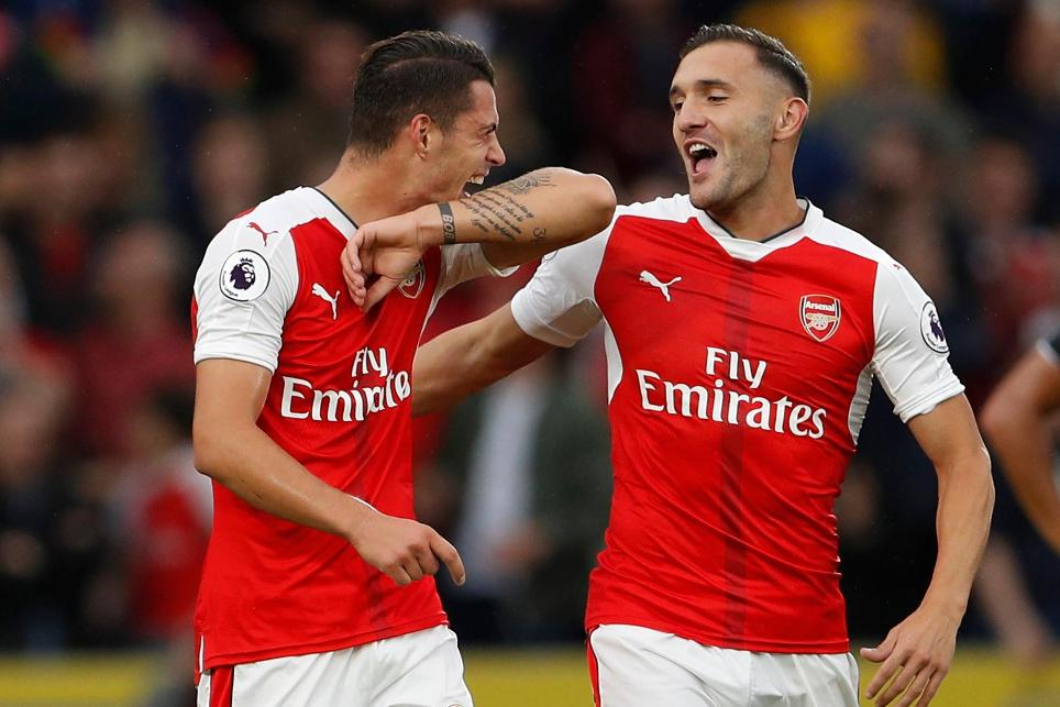 Granit Xhaka and Lucas Perez, Arsenal