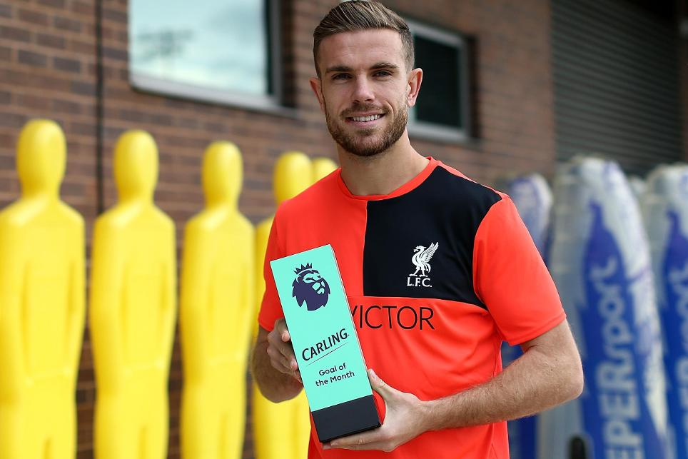 Jordan Henderson, September's Carling Goal of the Month winner