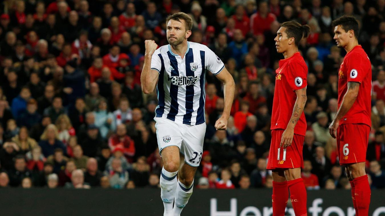 Liverpool v West Bromwich Albion, Gareth McAuley goal cele, 221016