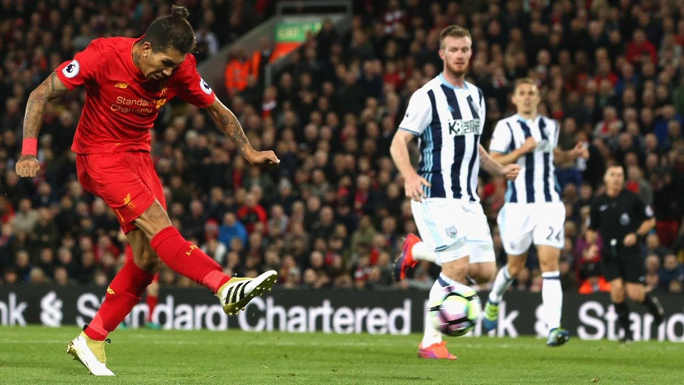 Liverpool v West Bromwich Albion, Firmino shot