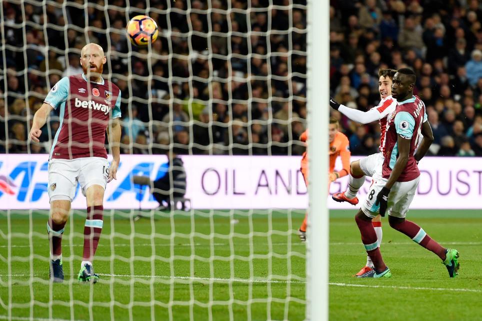 Stoke City's Bojan Krkic scores their first goal