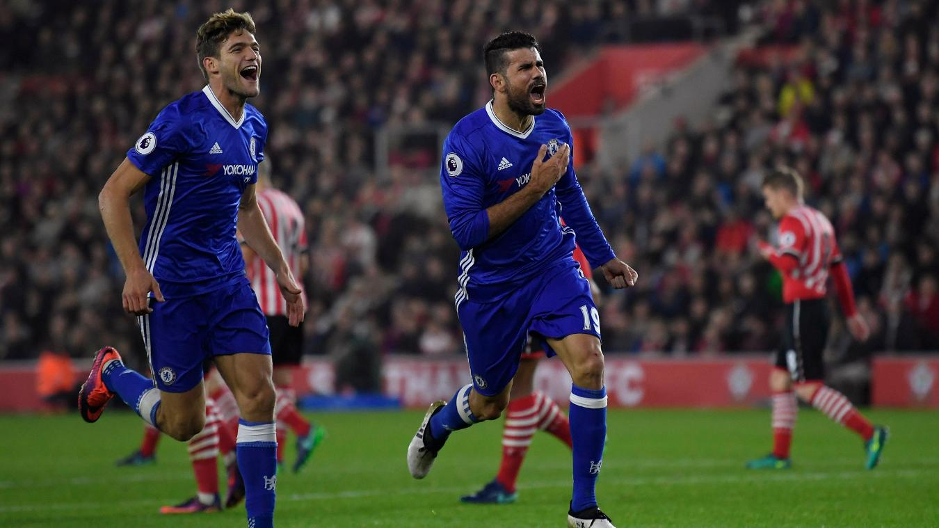 Southampton v Chelsea, Diego Costa goal, 301016