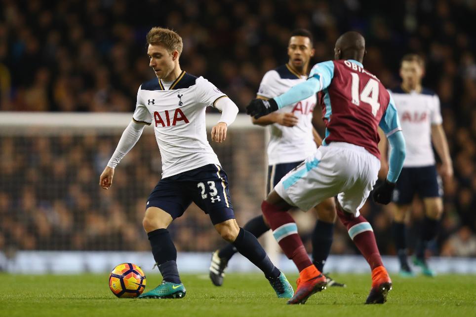 Christian Eriksen in action against West Ham