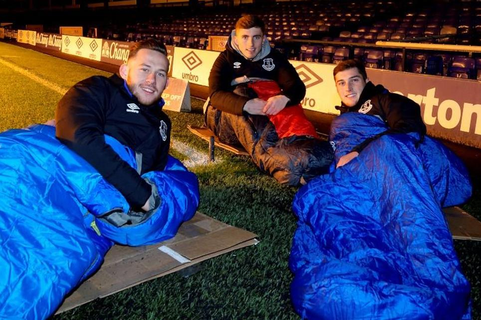 Everton sleepout at Goodison Park, November 2016, Gethin Jones, Jonjoe Kenny, Conor Grant