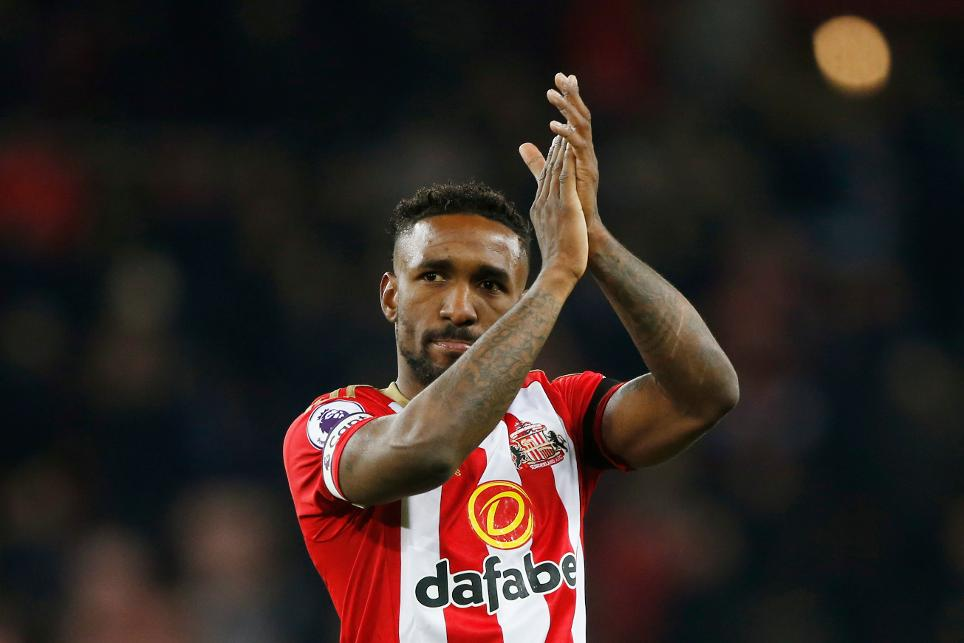 Sunderland's Jermain Defoe applauds fans after the game