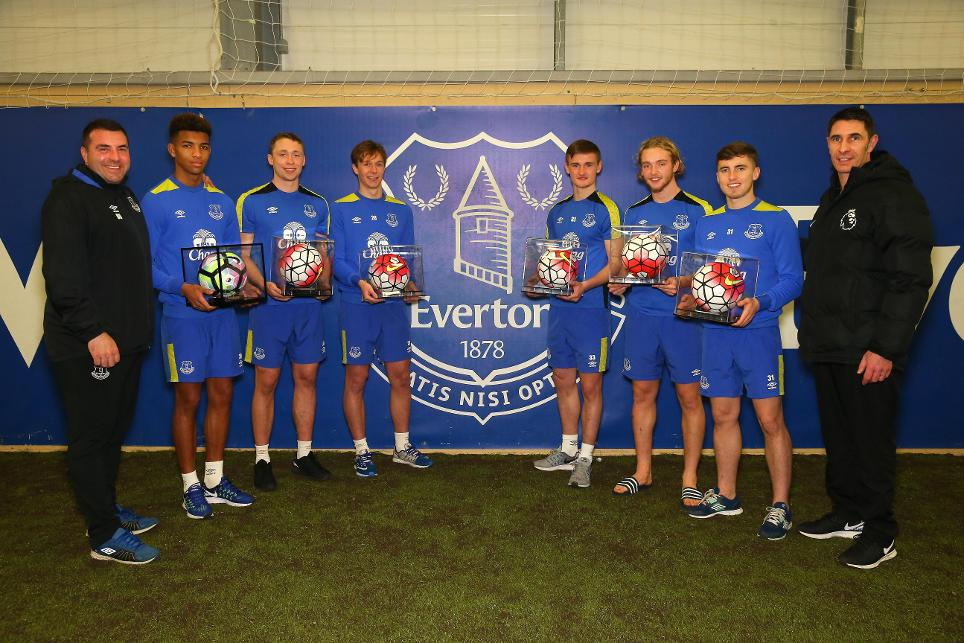 Everton players receive Premier League Debut Balls