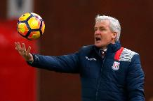 Stoke City manager Mark Hughes with the match ball