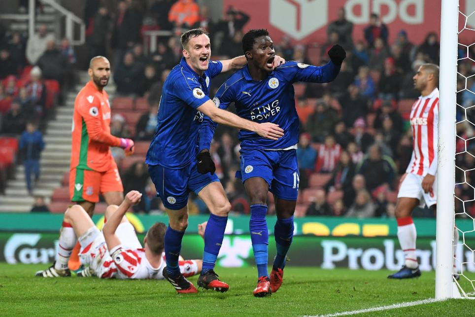 Leicester City's Daniel Amartey celebrates scoring their second goal with Andy King