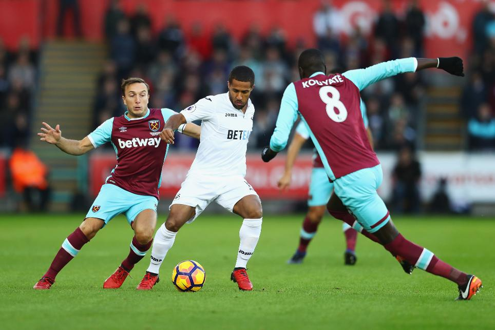 West Ham in action against Swansea