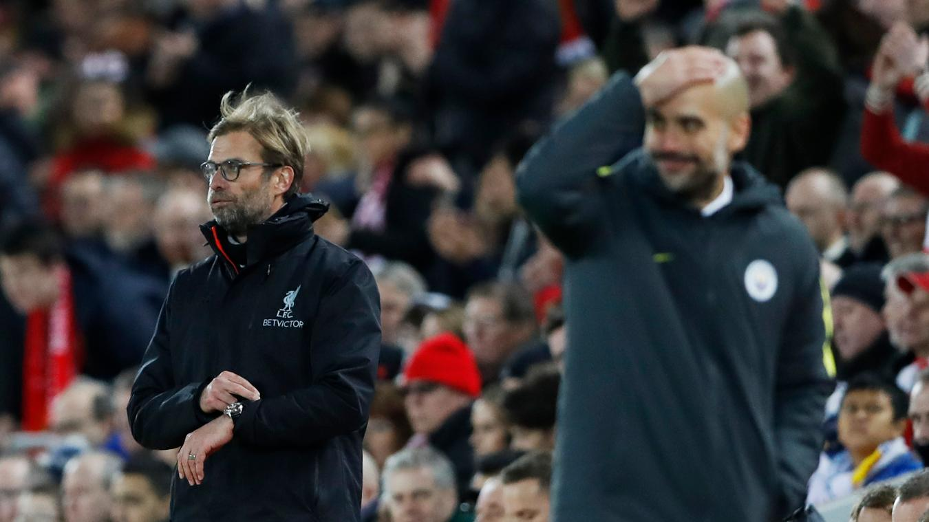 Liverpool manager Jurgen Klopp and Man City's Pep Guardiola