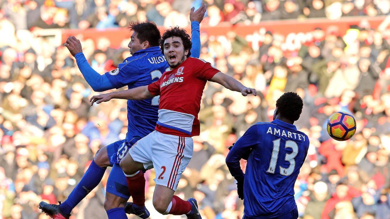 Middlesbrough v Leicester City, Fabio challenge, 020117