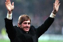 Kenny Dalglish applauds the fans after taking over as Newcastle manager