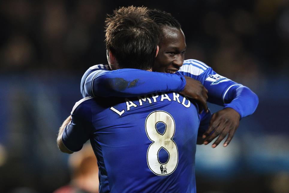 Frank Lampard and Romelu Lukaku celebrate