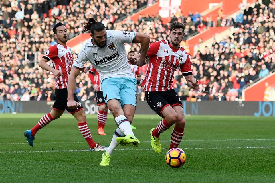 West Ham's Andy Carroll scores against Southampton