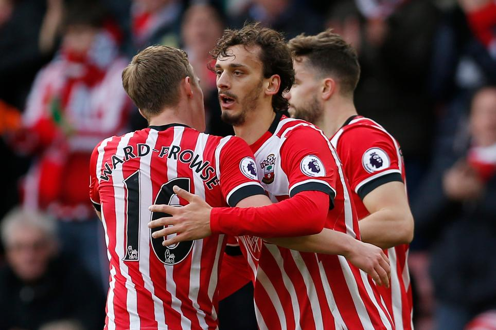 Southampton's Manolo Gabbiadini celebrates scoring their first goal