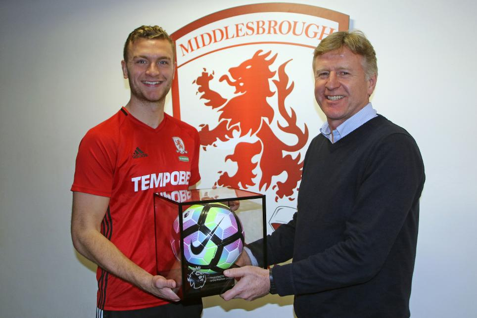 Ben Gibson with his Debut Football and Boro academy manager Dave Parnaby