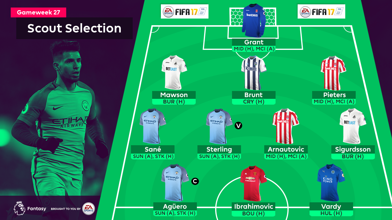 A graphic of the 11 chosen players for the Gameweek 27 FPL Scout Selection