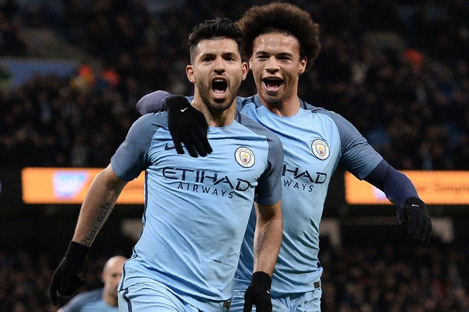 Sergio Aguero and Leroy Sane, Manchester City