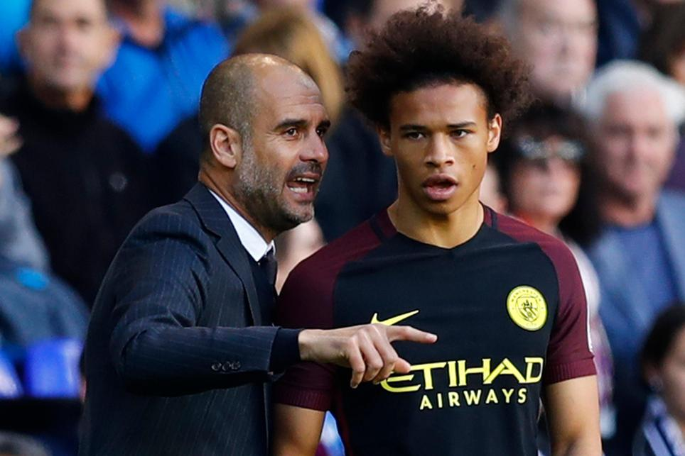 Pep Guardiola and Leroy Sane, Manchester City