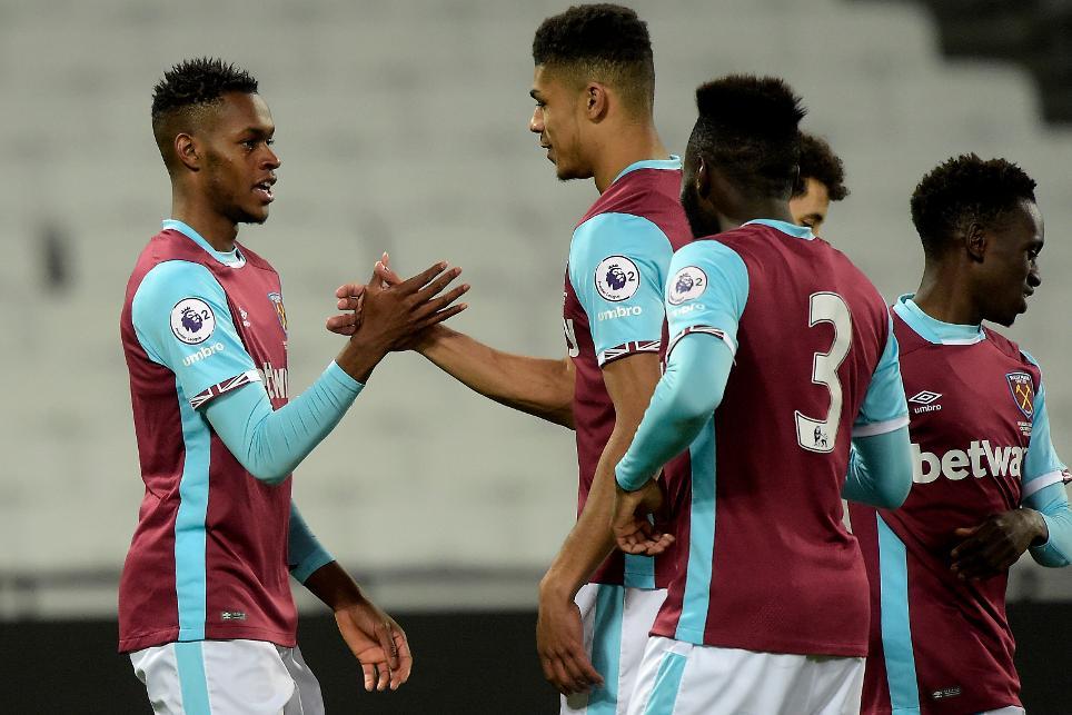 Edimilson Fernandes celebrates scoring for West Ham's PL2 side