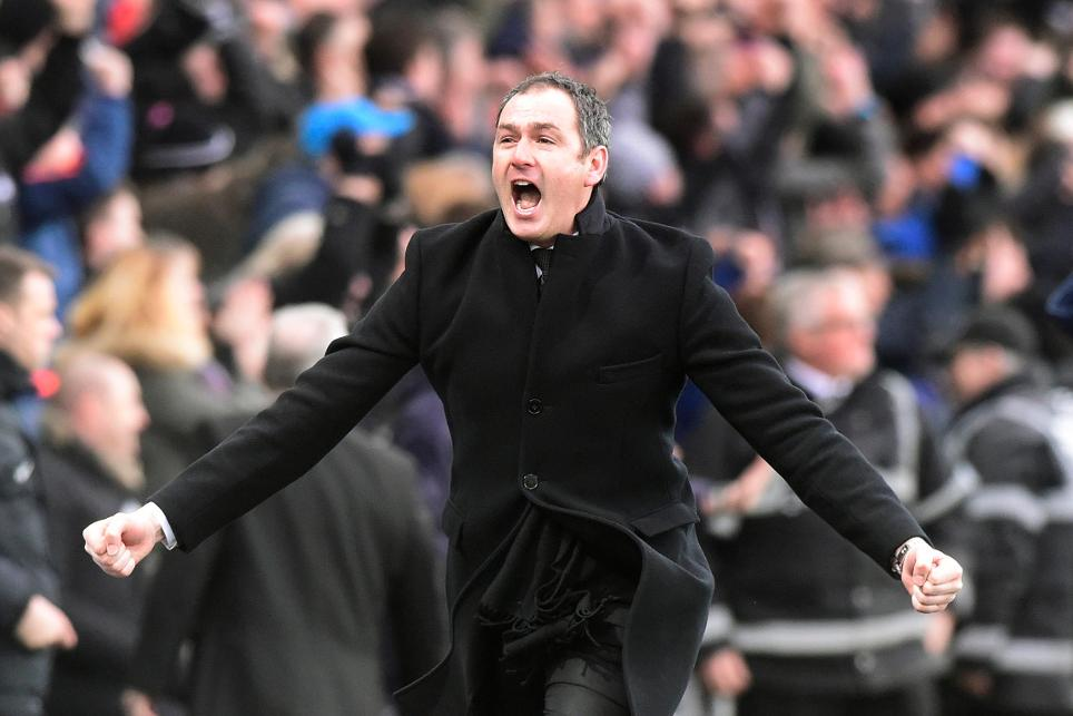 Swansea City manager Paul Clement celebrates