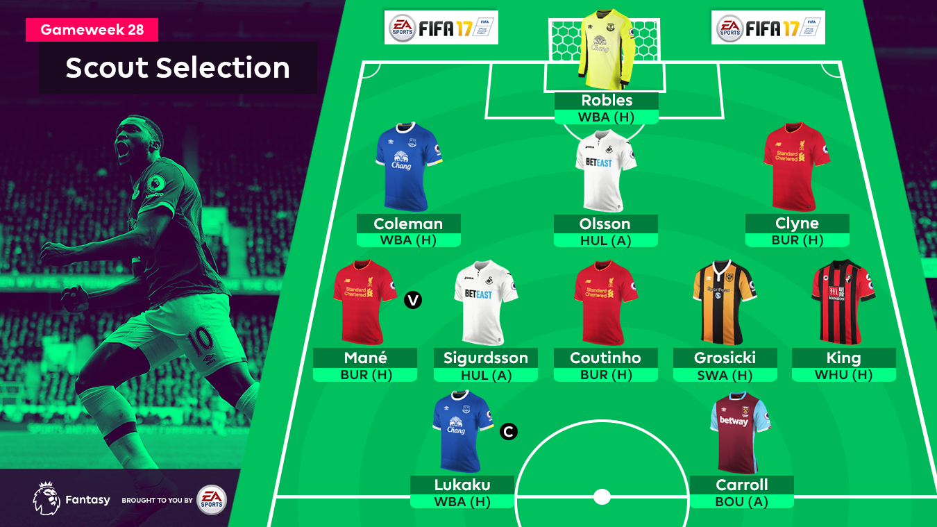 Graphic of Gameweek 28 FPL Scout Selection