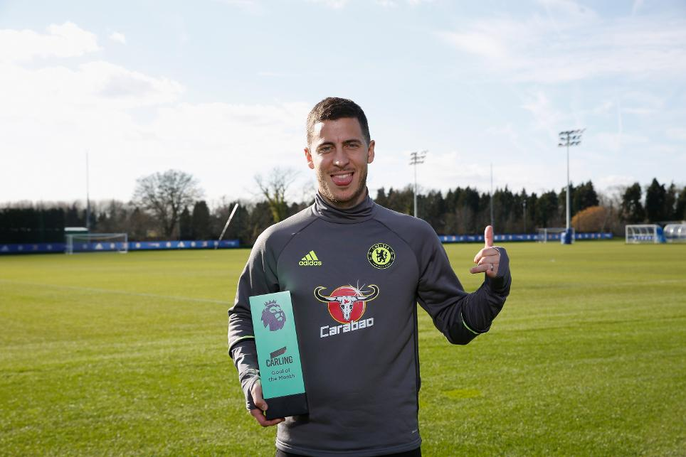 Eden Hazard, February's Carling Goal of the Month winner