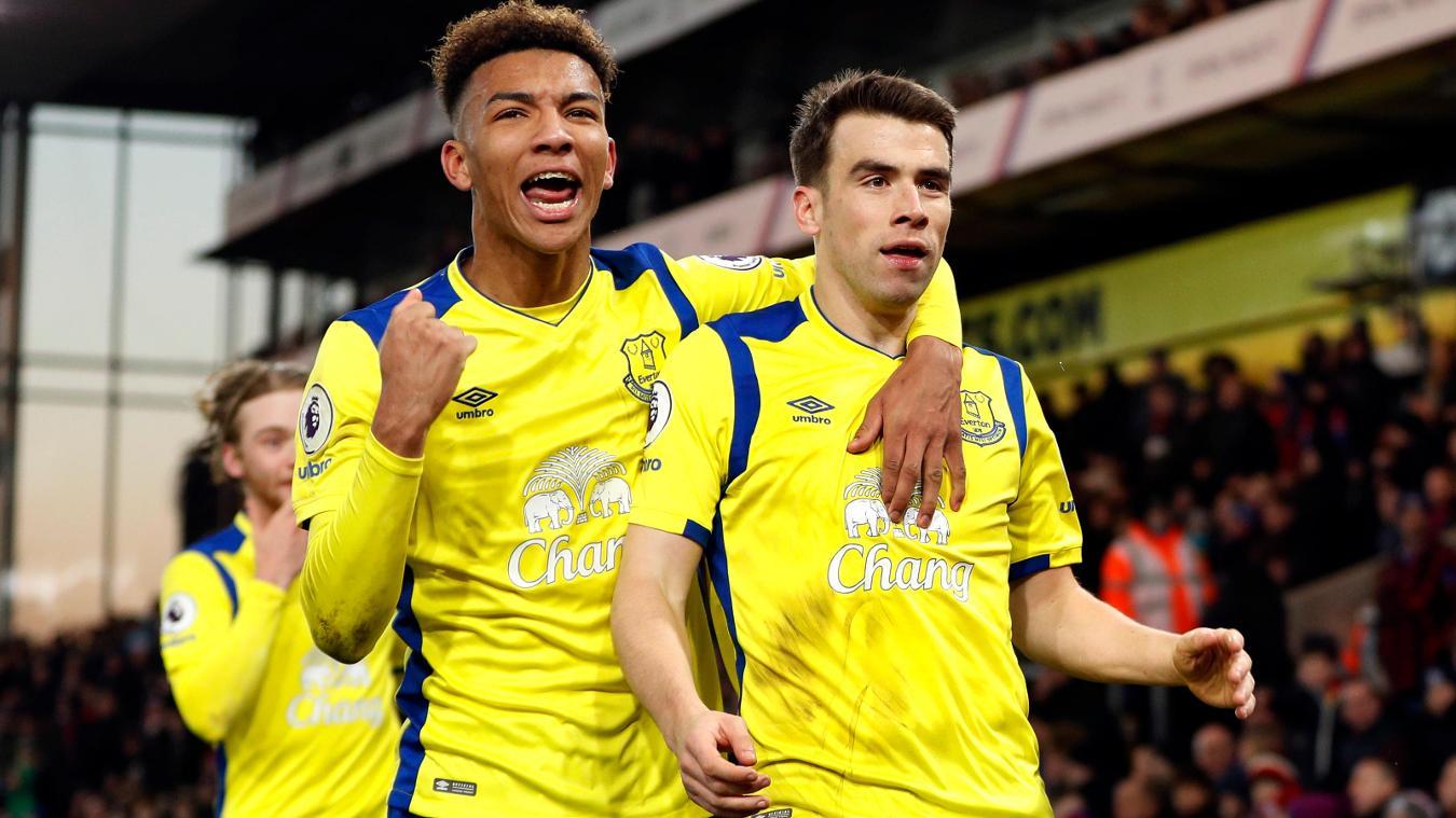 Everton's Mason Holgate, left, and Seamus Coleman