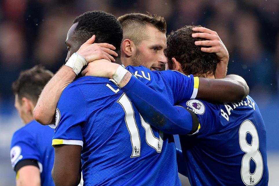 Romelu Lukaku, Morgan Schneiderlin and Ross Barlkey, Everton