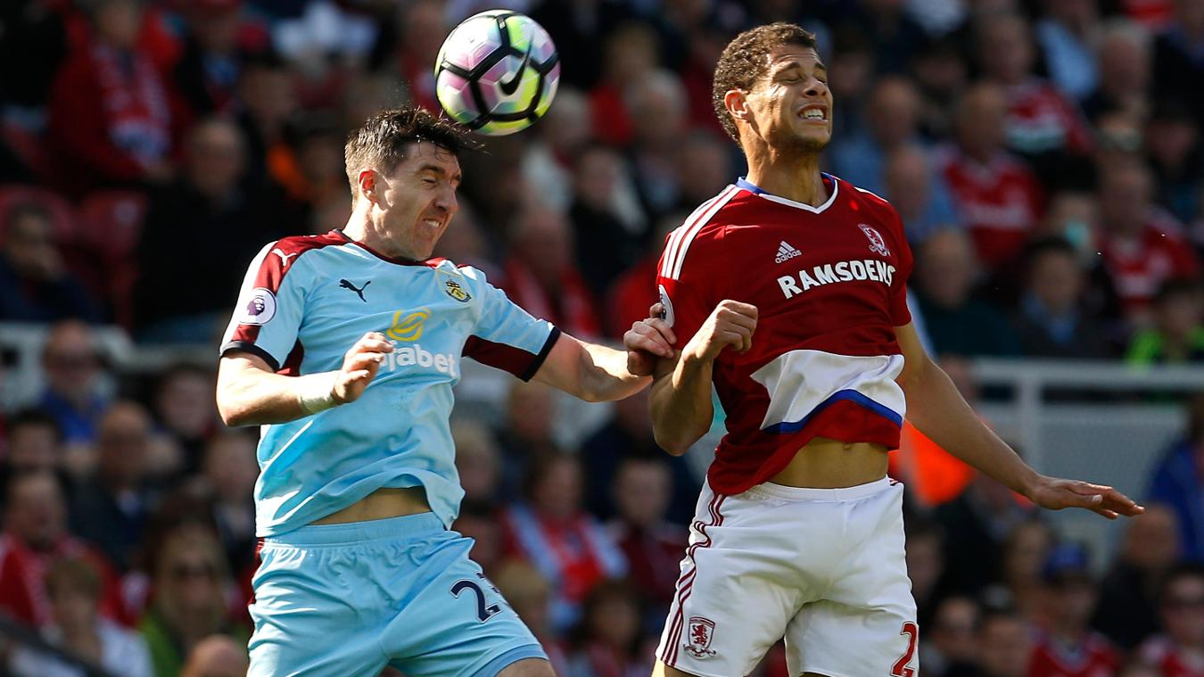 Burnley's Stephen Ward, left, and Middlesbrough's Rudy Gestede
