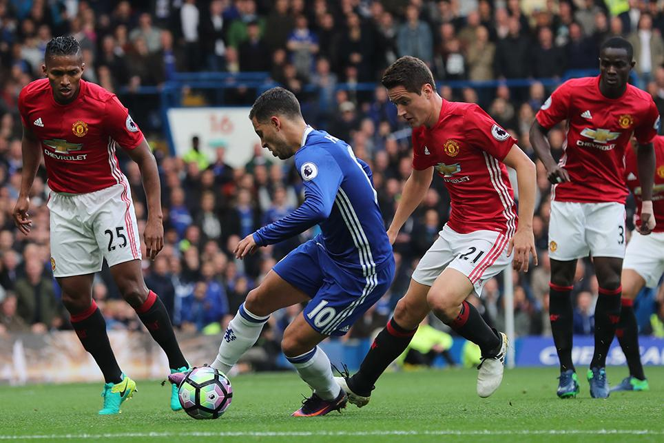 Eden Hazard in action against Man Utd