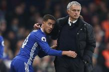 Jose Mourinho, the Manchester United manager, and Eden Hazard of Chelsea