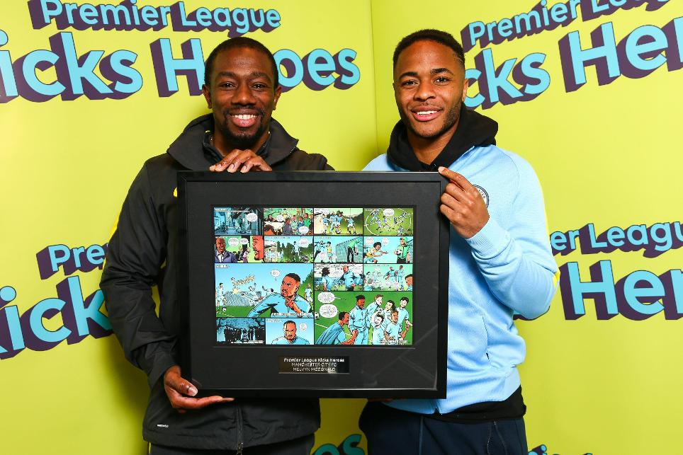 Man City PL Kicks Hero Melvyn McDonald with Raheem Sterling
