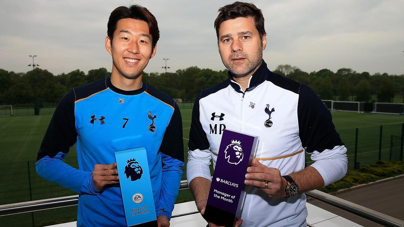 Tottenham Hotspur's Son Heung-min and Mauricio Pochettino