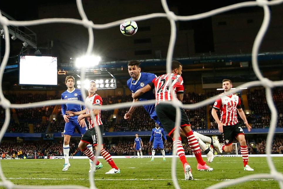 Chelsea's Diego Costa scores their third goal