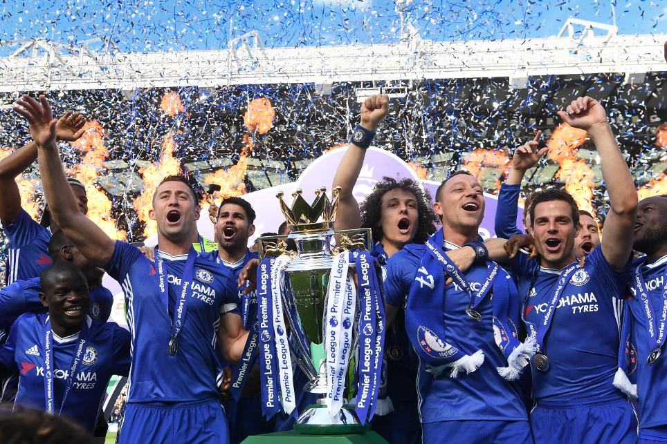 Chelsea lift the Premier League trophy