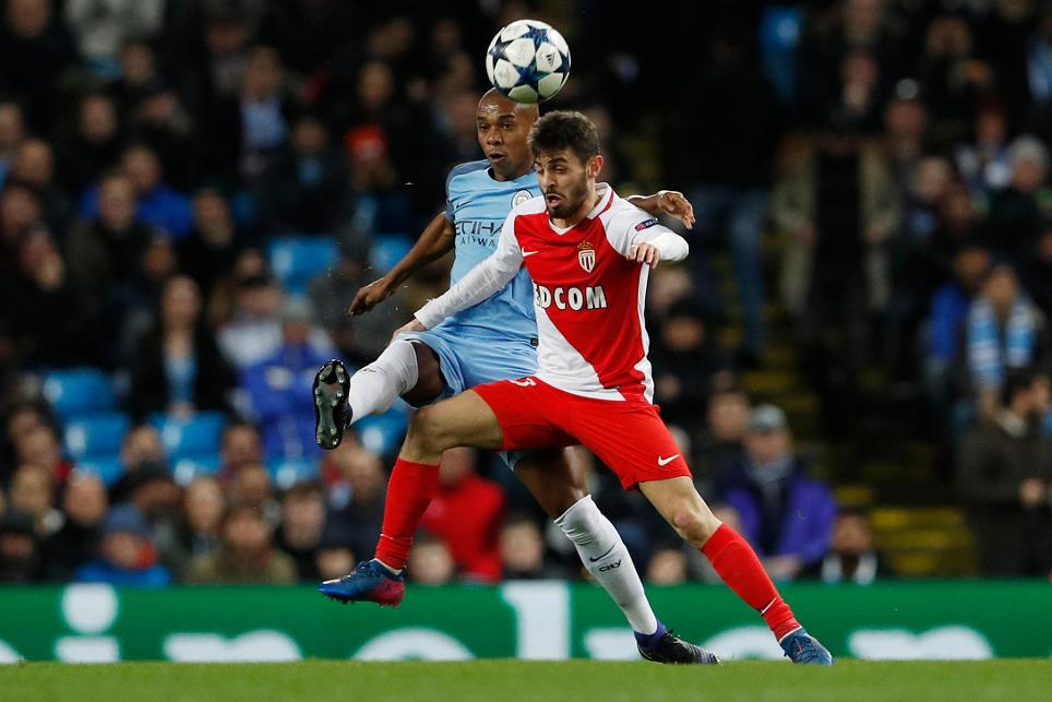 Bernardo Silva, of AS Monaco, and Fernandinho of Manchester City