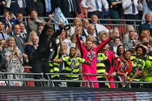 David Wagner lifts Championship Play-off final trophy