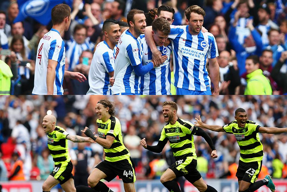 Brighton and Huddersfield celebrate promotion