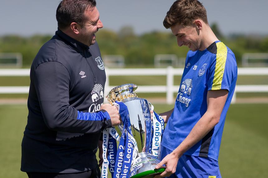 David Unsworth (left) and Joe Williams (right) helped Everton win the new Premier League 2 competition